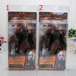 "Wholesale Blade Action Figure - 1piece 7"" NECA God of War 2 II Kratos in Ares Armor W Blades PVC Action Figure Toy Doll Chritmas Gift hot retail"