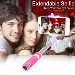 Argentina NUEVO Plegable Super Mini con cable Selfie Stick Handheld Extendible Monopod con cable Obturador Manija Compatible con teléfono celular Suministro