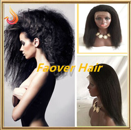 Wholesale Virgin Afro Kinky Lace Front - Top Malaysian Virgin Hair Afro Kinky Straight Coarse Yaki 1#,1b,2#,4#,Natural Color Lace Front Wig 130% density with baby hair free shipping