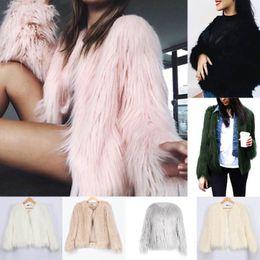 Wholesale Winter Ladies Tops - Women Luxury Winter Warm Outcoat Faux Fur Jacket Lady Top Down Coat Outwear
