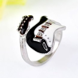 Wholesale Bright Horn - Wholesale- Fashion Women Men Metal Charm Guitar Shape Colorful Musical Finger Ring Punk Style Bright Musical Tools DIY Decoration