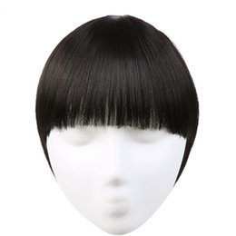 Wholesale Clip Bangs Front - Straight Clip In Neat Front Hair Bang Extension Heat Resistant 10 Colors Availables Synthetic Hairpieces