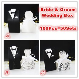 Wholesale Groom Boxes - Wholesale-100Pcs Bride and Groom tuxedo dress gown Wedding Favor Candy Gift box