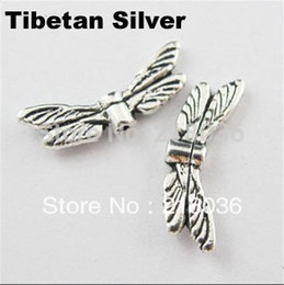 Wholesale Handcraft Beads - Vintage 200Pcs Antiqued Silver Dragonfly-Wing Spacer Beads Charm For DIY Jewelry Necklace Bracelet Handcraft Accessories Bijoux B768