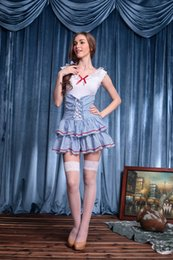 Wholesale Sexy Hot Uniform Maid - Wholesale-Lolita Maid Costume Cosplay Sexy Halloween Costumes Blue Grid Cotton Club Party Dancing Women Dress Uniform Temptation Hot Sale
