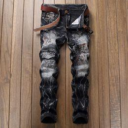 Wholesale Bleach 42 - Free Shipping 2017 New True Elastic jeans Mens Robin Rock Revival Jeans Crystal Studs Denim Pants Designer Trousers Men's size 28-42