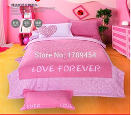 Wholesale Textile Items - Wholesale-Pink love wedding Four-piece 100% cotton Queen size bedding set for 5-6 feet bed printing home textile bedsheet item romantic