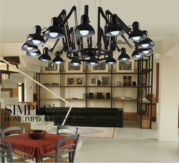 Wholesale Red Head Art - Modern 9 16 Head Pendant Light Brief iron Personalized Retractable Spider Art Black Lampshade Home Decor Lamps 110-240V Fixtures