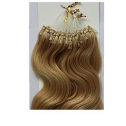 "Wholesale Brazilian Hair 16 - 16""~26"" 100g Virgin Brazilian Human Remy Hair #24 Natural Blonde Body Wave Micro Bead Loop Ring Hair Extensions 100g pack"