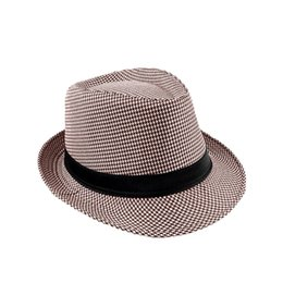 Wholesale Houndstooth For Men Women - Wholesale-Fashion Women's Hats Unisex Fedora Hat Houndstooth Pattern Mens Pinched Crown Ribbon Panama Cap Vintage Hats for Women