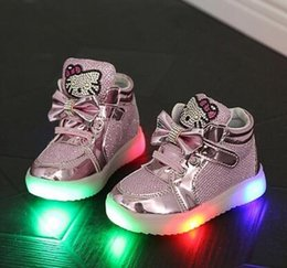 Wholesale Girls Rhinestone Shoes - Children Casual Shoes new LED Lights Female Male Child Sport Shoes Rhinestone Spring And Autumn Baby Sneakers hight quality Free Shipping