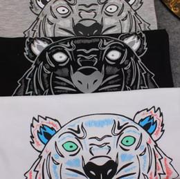 Wholesale Tiger Bells - Wholesale-2018 Summer Brand T Shirt Women Tops Tiger Head Letter Print T-shirt Cotton Short Sleeve Tshirt Women Men Tops black white