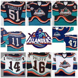 Wholesale John Tavares Jersey - #16 Ziggy Palffy New York Islanders Fisherman John Tavares Korolev Brent Severyn Beraro Darius Kasparaitis Vintage Throwback Hockey Jerseys