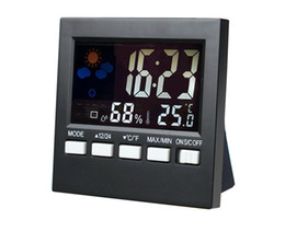 Wholesale Weather Station Clock Led - Digital Temperature Humidity Alarm Clocks LCD Weather Station Display Calendar Timer