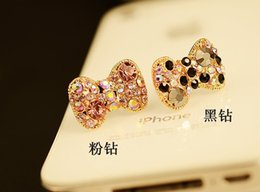 Wholesale Bow Anti Dust Earphone - Wholesale-Fashion shinning bow Style with diamond Earphone Anti-dust Plug for 3.5mm