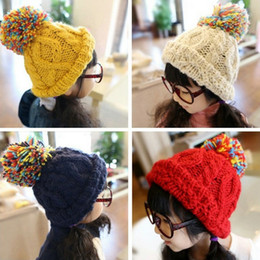 Wholesale Childrens Crochet Winter Hats - cute warm Girls winter beanie crochet hats Childrens color Caps Kids accesories 3-7ages NO293