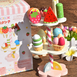 Wholesale Wooden Toy Cakes - Wholesale- Kids Play House Toy Wooden Ice Cream Three Layers Cake Kids Learning Cute