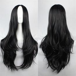 Wholesale Long Curly Hair Bangs - Byakuya Kuchiki wig orochimarul long hair carve bangs synthetic wigs Long Black blonde wig Cosplay Party Curly Wigs+Free hairnet
