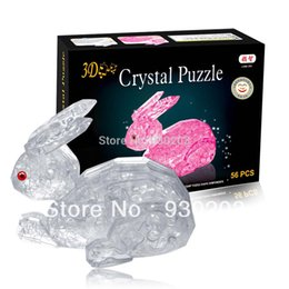Wholesale 3d Crystal Jigsaw Puzzles - Wholesale-Rabbit 3D Crystal Jigsaw Puzzle 56Pcs