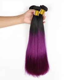 Wholesale purple human hair - Ombre human hair wefts Straight brazilian hair weave 1B&Purple two tone color Hair bundles 8~34inch no tangle Indian hair extensions