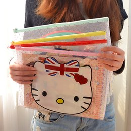 Wholesale File Zipper - Wholesale-2333A cute cartoon creative zipper bag A4 paper bag transparent file pocket