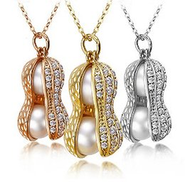 Wholesale Double Pearls Necklace - Fashionable Double Pearl Necklace Top Quality Real Pearls Peanut Pendant Necklace For Women 18K Gold Plated Jewelry LM-N198