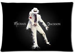 Wholesale Michael Jackson Pillowcase - 100% Cotton Michael Jackson Super Star Black Pillow Covers Custom Home Kichen Rectangle Pillowcase Size40X60cm