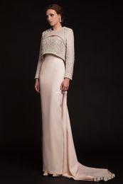 Giacca a serratura online-Krikor Jabotian 2017 Luxury Long Beaded Evening Gowns Elegante giacca maniche lunghe colletto in rilievo Keyhole Neck più recente Celebrity Prom Dresses