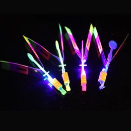 Wholesale Flying Ufo - New LED Arrow Helicopter LED Amazing Arrow Flying Helicopter Umbrella Kids Toys Space UFO LED Light Toys Christmas Halloween Flash Toys