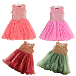 Wholesale Gauze Tutu Skirts - girls sequin gauze dress round neck sleeveless vest dress bling tutu skirt princess girls party dresses 2016 summer certified by CTI-USA