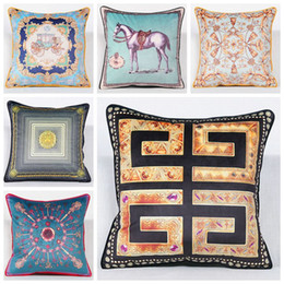 Wholesale Luxury Fabric Sofas - luxury velvet cushion cover blue horse sofa throw pillow case euro cojines ethnic geometric almofadas modern home decor