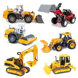 Wholesale Toy Sailboats - 6 Style Inertial Car Construction Vehicle Engineering Car Excavator Cars Doll Boys Gifts Toys Christmas Present For Children