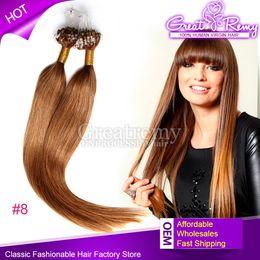 Wholesale Micro Ring Virgin Hair - 100s Brazilian Peruvian Virgin 18inch #8 Micro Ring Loop Straight Hair Extension weft Colored Micro Ring Hair Micro Loop Hair Extension