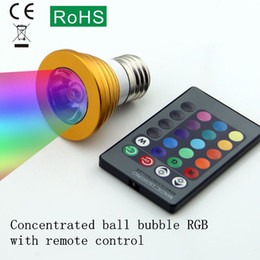 Wholesale Small Color Changing Led Lights - Small colorful RGB led color changing light 3 w bulb bars KTV concentrated remote control energy-saving lamps cup E27   E14 screw