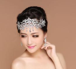 Wholesale Bridal Forehead - 2017 Bling Silver Wedding Accessories Bridal Tiaras Hairgrips Crystal Rhinestone Headpieces Jewelrys Women Forehead Hair Crowns Headbands