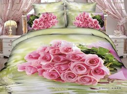 Wholesale Pillow Shams Roses - Romantic rose cotton queen bedding sets love reversible duvet cover flat sheet pillow shams 4 5pc bed in a bag