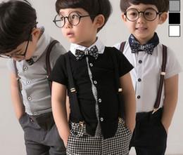 Wholesale Shorts For Boys Gentleman - 2016 Children Outfits Boys Gentlemen 3pcs Sets Short Sleeved T-shirts + Stripe Pants +Bowtie Outfits For 3-7Y Kids Clothes B4017