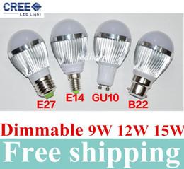 Wholesale Dimmable Ball Light 15w - DHL Free shipping Retail Dimmable Bubble Ball Bulb 85-265V 9W 12W 15W E14 E27 B22 GU10 High power lamp Globe light LED Lighting