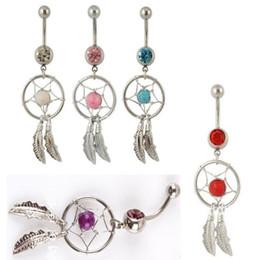Wholesale Gem Belly Bar - Body Jewelry Crystal Gem Dream Catcher Navel Dangle Belly Barbell Button Bar Ring Body piercing