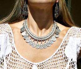 Wholesale Turkish Link Necklace - New Bohemian Gypsy Love Affair Necklace Antalya Silver Coin Choker Bib Statement Fringe Turkish Bohemian Boho India Festival Coachella