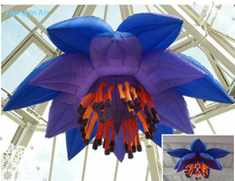 Wholesale Ceiling Decorations For Parties - 3m Blue Inflatable Decoration Flower for Ceiling Bar Party Decoration