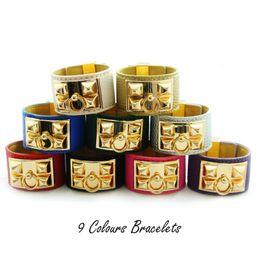 Wholesale Bracelets Fashion Rivet - Fashion leather bracelet Punk style stainless Steel chunk bangle multicolor circle rivet pyramid leather Brace lace trendy women accessories