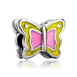Wholesale Teen Bracelets - Yellow pink butterfly animal European bead metal charm teen girls bracelets with large hole Pandora Chamilia Compatible