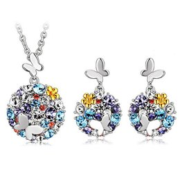 Wholesale Cheap Butterfly Necklace Earrings - Necklace Earrings Set for Brides Colorful Crystal Butterfly Cheap Earrings and Necklace Sets Designer Women Jewelry 1350