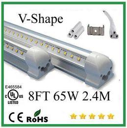 Wholesale Cheap T8 Led Tube Lights - Cheap V-Shaped 4ft 5ft 6ft 8ft Cooler Door Led Tubes T8 Integrated Led Tubes Double Sides SMD2835 Led Fluorescent Lights AC 90-265V UL DLC