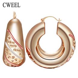Wholesale dubai accessories - Wholesale- CWEEL Fashion Unique Design Hoop Earrings For Women Gold Color Big Earrings Bohemia Style Jewelry Dubai Bridal Accessories