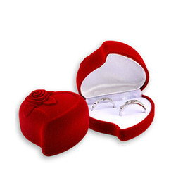 Wholesale Velveteen Ring Boxes - Velvet Ring Box, heart shape, wedding design, Velveteen Rings Jewelry Display Box, for couple rings, sold by 10pcs lot)