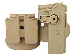 Wholesale Imi Tactical Holster - IMI Style Colt Roto RH Pistol & Magazine quick release Paddle Retention Rot double Holster scopes for tactical airsoft 1911 rifle tan