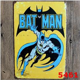 Wholesale Metal Decor Wholesalers - Cartoon Hero Bat Man Metal Tin Sign Bat Man Retro Movie Posters Wall Art Hanging Children Room Decor 30x20cm