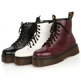 Wholesale Leather Platform Zip Ankle Boots - High quality platform autumn and winter add cotton warm motorcycle boots martin boots women's punk ankle boots size 35-40
